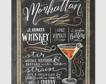 Attrayant Manhattan   Manhattan Drink Recipe   Chalkboard Sign   Art Print   Kitchen  Decor   Chalkboard Art   Bartender Art   Chalk Art   Mixed Drink