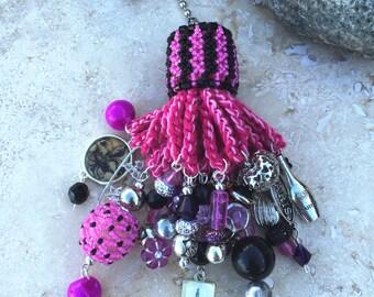 Light Fan Ball Chain Pull - Beaded Tassel - Paris Theme - Hot Pink & Black