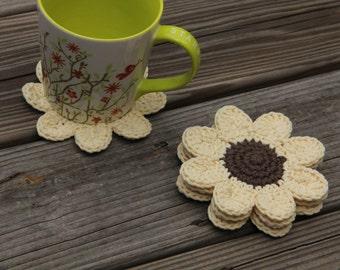 Sunflower Coasters, Yellow Flower Coasters, Black-Eyed Susan Coasters, Sunflower Coaster Set, Crochet Coasters, Crochet Sunflowers