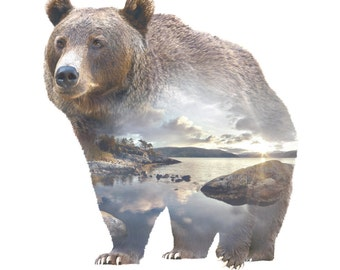 Bear Animal Double Exposure Art Print - Faunascapes by WhatWeDo
