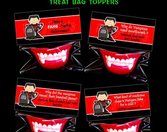 INSTANT DOWNLOAD - Printable Halloween Vampire Joke Treat Bag Toppers