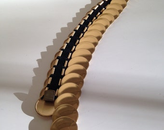 Fish scale belt stretchy golden