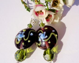 Murano Glass Earrings Floral Beads Olivine Swarovski Crystals