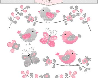 ON SALE Birds and Butterfly Digital clip art, bird clip art, butterfly clip art, pink and gray, summer clip art, instant download