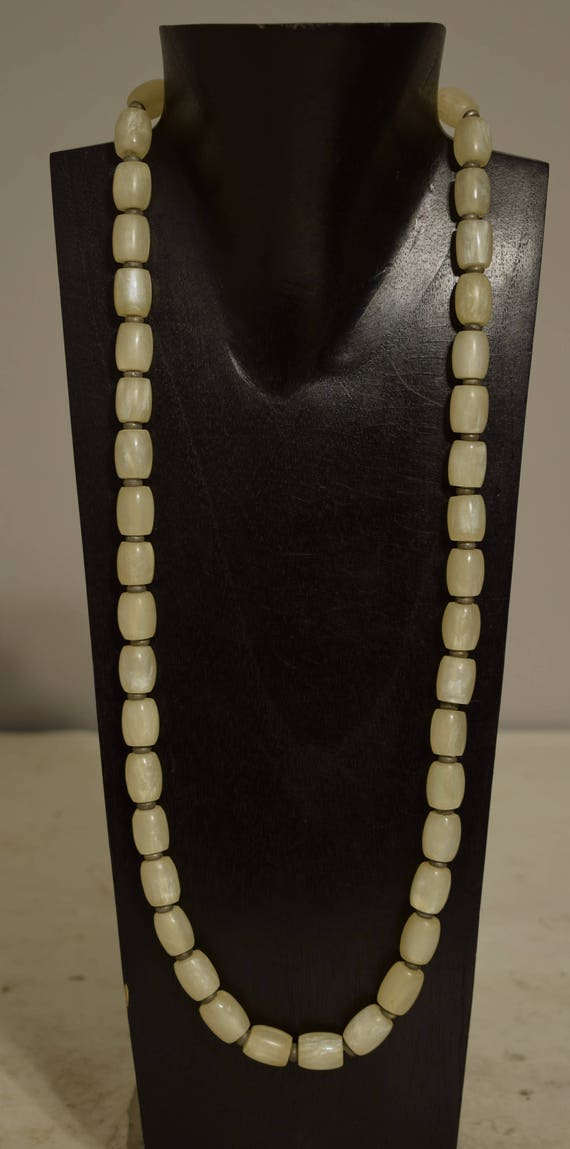 Necklace White Resin Beads Silver Beaded Handmade Beaded Necklace Jewelry