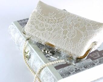 Bridal clutch, Chantilly Lace  Silk Clutch in Ivory on Champagne, wedding clutch, wedding bag, Bridal clutch