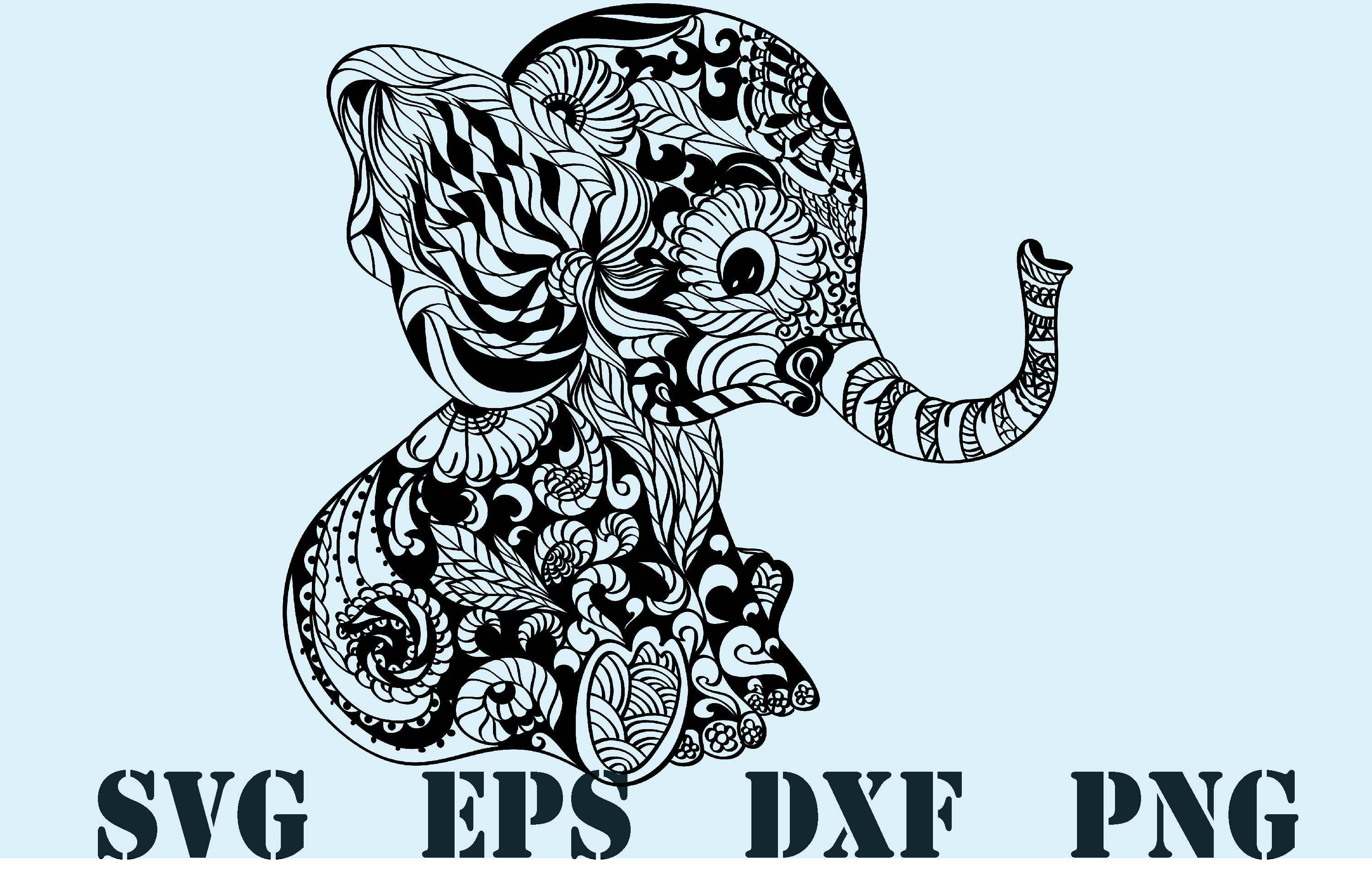 Download Elephant mandala svg / zentangle elephant svg / mandala