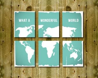 World Map Prints Set of 6, What a Wonderful World Modern Home Decor Travel Quotes Nursery Decoration Graduating School Gift Globe Earth