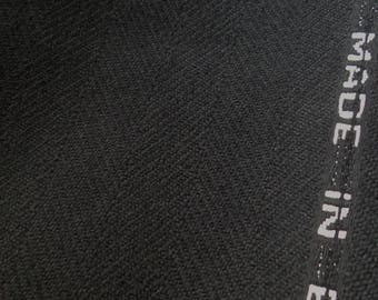 British Herringbone Tweed deep black extra wide 150 cm hand woven virgin wool