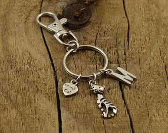 Cat keyring, cat keychain gift, personalized cat keychain, feline gift, initial charm, name keyring, birthstone charm, personalised keyring