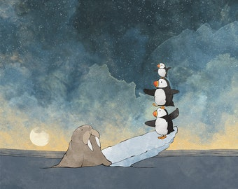 Walrus and Puffin Art Print - Balancing on the Ice