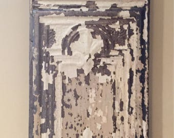 Antique Ceiling Tin Wall Hanging Trimmed in Barnwood (3x1 feet)