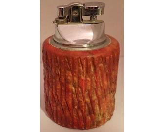 Vintage Cigarette Cigar Lighter Table Type Alabaster Orange Marble Mid Century
