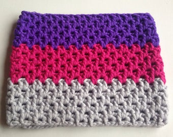 Grey Purple Fuchsia wool blend crocheted cowl