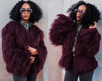 Margaux Wine Berry Faux Fur Shag Coat Jacket XS S M L XL XXL