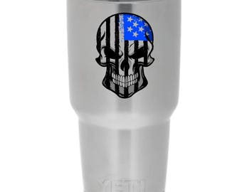 Yeti sticker decal - Subdued Skull USA flag - funny cool skins