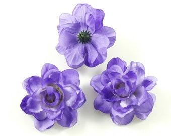 Set of 10 artificial flowers without stem diameter. 5.5 cm - purple