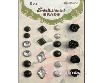 Set of 20 matched black embellishment brads cardmaking scrapbooking *.