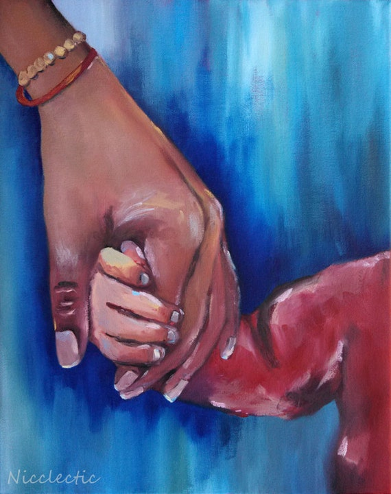 Holding Mom's Hand, mother and child, gift ideas for mom, Mothers day Grandmother and grandchild, family love together clasped fingers hands