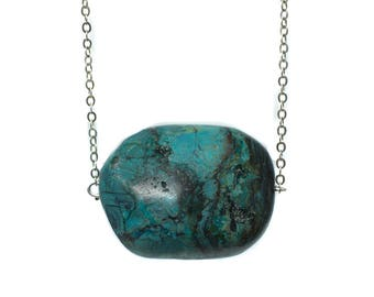 Turquoise Single Stone Handmade Silver Necklace