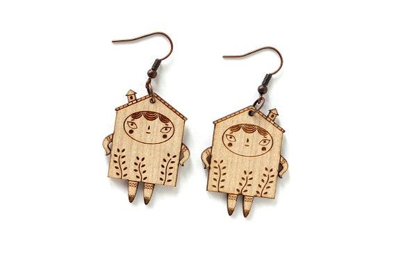 House earrings - lasercut maple wood - cute little house earrings - architecture jewelry - house illustration jewellery - lasercutting