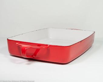 "Dansk Kobenstyle pan, Dansk rectangular red baking pan, 8"" by 10"", Dansk enamel roasting pan, France, mid century cookware, vintage Dansk"
