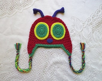 READY TO SHIP - 1 to 3 Year Size - Crochet Bug Hat with Purple Antennas - Photo Prop