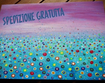 """Painting on canvas """"blooming orizon"""" / acrylic abstract contemporary art"""