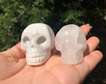 Gemstone Skull- Howlite and Quartz
