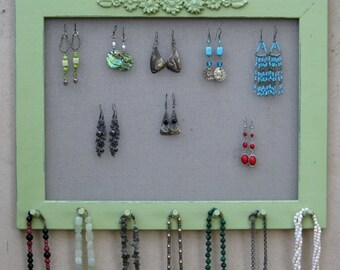 Widthwise Green Shabby Chic JEWELRY ORGANIZER RACK / 40 - 50 Earrings / 28 - 35 Necklaces