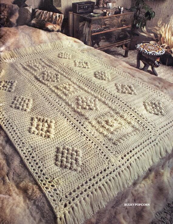 Afghan Crochet Pattern Bulky Popcorn Crochet Afghan Pattern