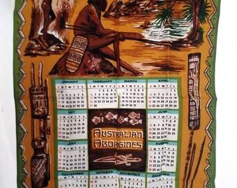 1983 cotton tea towel indigenous aboriginal themed
