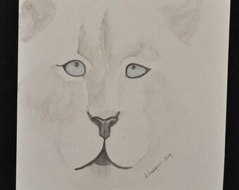 Watercolor White Tiger