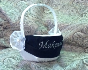 Flower girl basket ivory or white with name or initials embroided