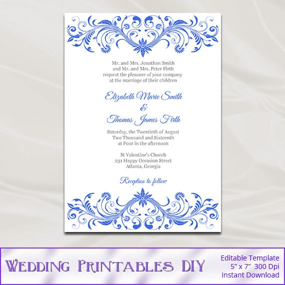 Royal Blue Wedding Invitation Template Diy Printable Birthday