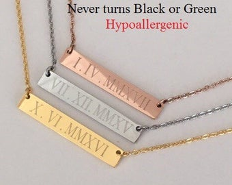 Roman Numeral Necklace, date necklace,Personalized necklace, Rose Gold Necklace, bridesmaid gift,