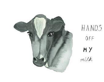 Cow Illustration, Art Print, Vegan Art, Vegan Illustration, Animal Art, Wall Art