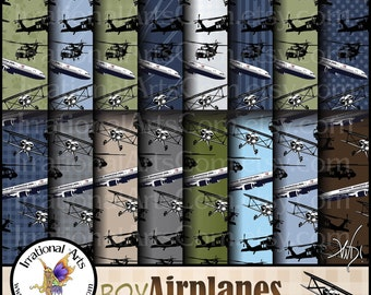 Boy Airplanes set 1 - with 16 jpg files digital scrapbooking papers with bi planes airliners black hawk choppers [INSTANT DOWNLOAD]