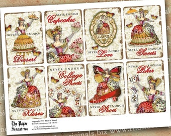 ATC Aceo Marie Antoinette Digital INSTANT Download Collage Sheet - Cupcakes Dessert Poker Love Butterfly Kisses Shoes CS13C