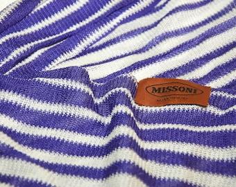 Vintage Missoni Purple White Long Scarf