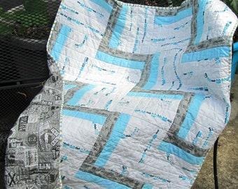 Modern Baby Quilt, Train Baby Quilt, Baby Boy Quilt, Cot Quilt, Crib Quilt, Blue, Gray, Railroad