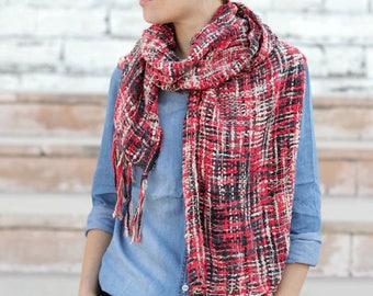 Red black scarf, crochet scarf, cotton silk scarf, unisex scarf, soft scarf, long scarf, knitted red black scarf, scarf handmade, nice scarf