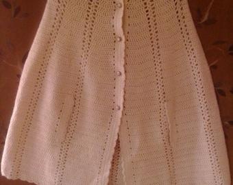 SALE!!!70s cream crochet cape style poncho