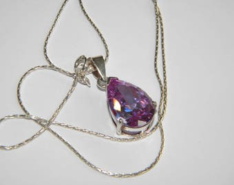 lovely necklace LILAC PURPLE sparkling stone ~ silver 925 ~ A2405
