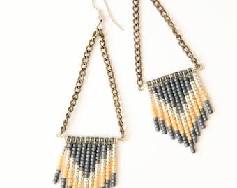 Chevron seed bead earrings - slate blue, terracotta and cream
