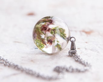 Heather flowers ⇷18mm⇸ Resin necklace | Birthday gift for Heather | Lucky Scottish Jewelry Real heather necklace Scotland good luck Jewelry