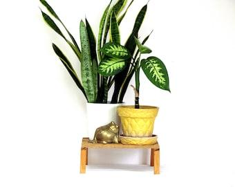 Vintage Houseplant Riser, Plant Stand, Wooden Slat Top