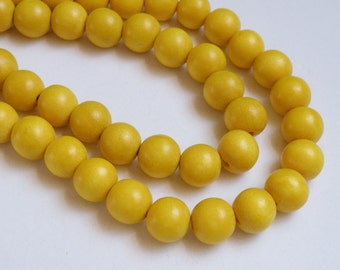 Lemon Yellow wood beads round 12mm full strand eco-friendly Cheesewood 9476NB