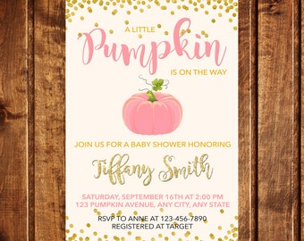 Pumpkin Baby Shower Invitation, Pumpkin Invitation, Fall Baby Shower Invitation, A little pumpkin is on the way baby shower invitation, girl