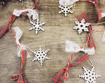 Snowflake and plaid garland, winter decor, plaid decor, farmhouse